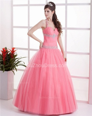 Elegant Halter Sleeveless Quinceanera Dresses  Sequins Crystal Floor Length Evening Dresses_5