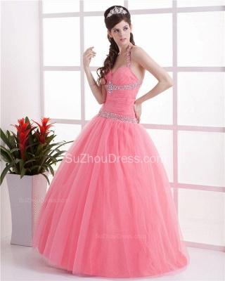 Elegant Halter Sleeveless Quinceanera Dresses  Sequins Crystal Floor Length Evening Dresses_4