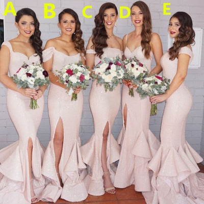 Sexy Mermaid Light Pink Bridesmaid Dresses Latest Sequined Slit Formal Dress_1