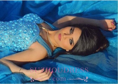 Straps A-line Sleeveless Gorgeous Crystals Long Evening Dress_1