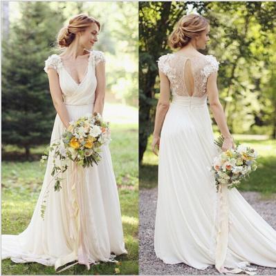 New Arrival Deep V-Neck Chiffon Bridal Gown A-Line Short Sleeve Ruffles Flower Wedding Dress_3