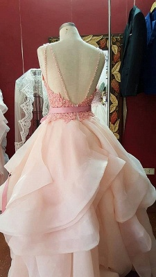 A-Line Pink Lace Tiered  Prom Dress Open Back Sleeveless Bowknot Party Gowns_3
