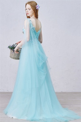 V Neck Blue A Line Evening Dress Tulle Open Back  Long Prom Dress with Beads_3