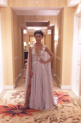 Latest A-Line Chiffon Sweep Train Prom Dress Lace Side Slit Formal Occasion Dress_3