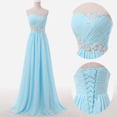 Baby Blue Chiffon Sweetheart Long Prom Dress Beads Lace-up  Evening Dress BO9851_2