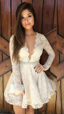 Simple Deep V-Neck Lace Cocktail Dresses Long Sleeve Short Homecoming Dresses With Beadings BA3733_1