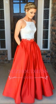 Lace A-Line Two-Piece Glamorous Prom Dress_1