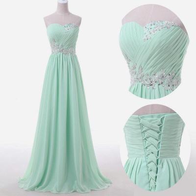 Baby Blue Chiffon Sweetheart Long Prom Dress Beads Lace-up  Evening Dress BO9851_4
