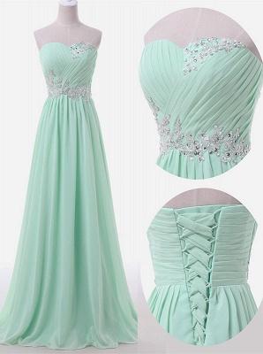 Baby Blue Chiffon Sweetheart Long Prom Dress Beads Lace-up  Evening Dress BO9851_3
