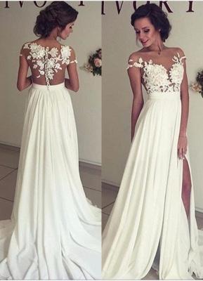 Stylish Lace Appliques Side Slit A-line Chiffon Beach Wedding Dresses | Bridal Gowns Online_1