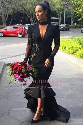 Hi-lo Puffy Mermaid Black Long-Sleeves Lace Appliques Deep-V-Neck Prom Dresses_5