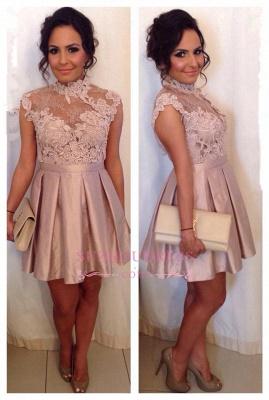 Cute Appliques Mini Open Mini Lace High Neck Back Graduation  Homecoming Dresses BA3315_2