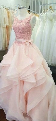 A-Line Pink Lace Tiered  Prom Dress Open Back Sleeveless Bowknot Party Gowns_4