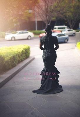 Hi-lo Puffy Mermaid Black Long-Sleeves Lace Appliques Deep-V-Neck Prom Dresses_4