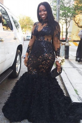 Black Long Sleeves Plus Size Prom Dresses | Long Sleeves Appliques Mermaid Evening Dresses SK0171_1