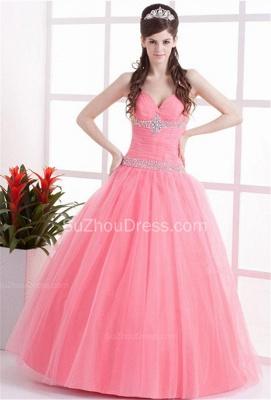 Elegant Halter Sleeveless Quinceanera Dresses  Sequins Crystal Floor Length Evening Dresses_6