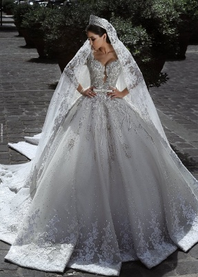 Glamorous Long Sleeves Tulle Appliques Wedding Dresses  Crystal Bridal Ball Gowns with Bow BA7970_1
