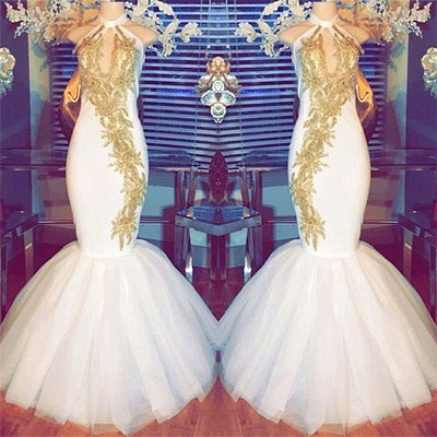 Sexy Gold Beads Appliques Prom Dress | Halter Mermaid  Evening Gown  BA8790_3
