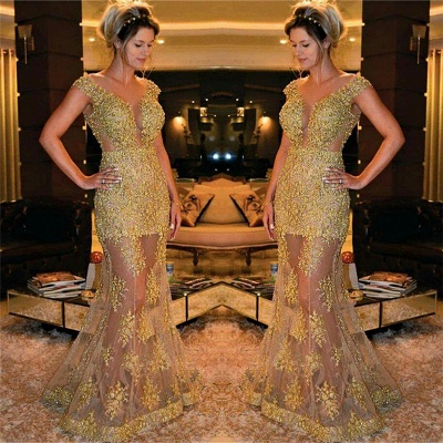 Gold Beads Appliques Sexy Evening Gowns Sheer Tulle Sleeveless Popular Formal Dress BA7572_3