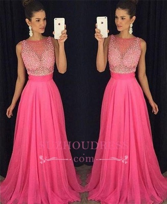 Fuchsia Newest Beadings Tulle A-Line Sleeveless Prom Dress_3