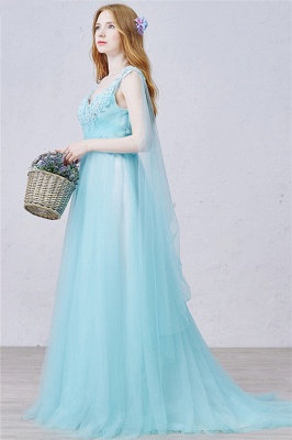 V Neck Blue A Line Evening Dress Tulle Open Back  Long Prom Dress with Beads_2