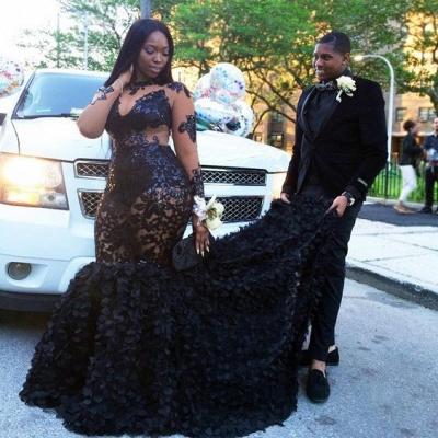 Black Long Sleeves Plus Size Prom Dresses | Long Sleeves Appliques Mermaid Evening Dresses SK0171_4