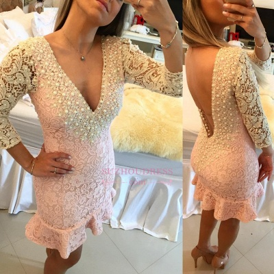 Bodycon Pearls Sexy Backless Mini Lace V-neck Homecoming Dress_4