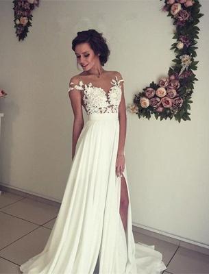 Stylish Lace Appliques Side Slit A-line Chiffon Beach Wedding Dresses | Bridal Gowns Online_5