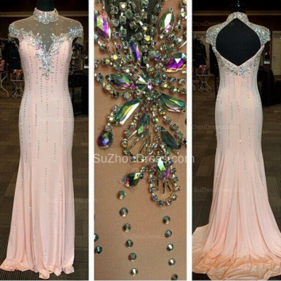 High Neck Chiffon Gorgeous Prom Gowns  Mermaid Evening Dresses with Beadings_2
