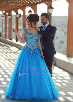 Straps A-line Sleeveless Gorgeous Crystals Long Evening Dress_2