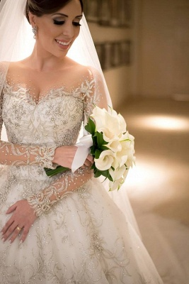Luxurious Crystals Beading Princess Wedding Dress  Long Sleeve Court Train Bridal Gown_4