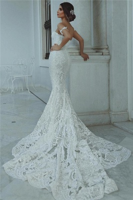 Mermaid Lace Wedding Dress Cheap | Sexy Court Train Sweetheart Bridal Gowns with Sleeve Decorations_4