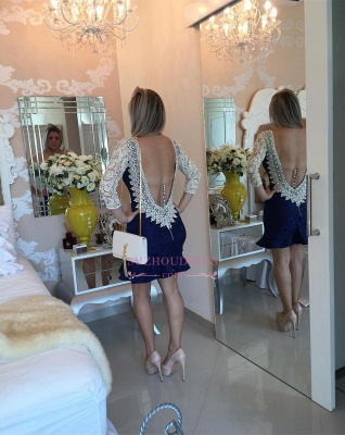 Bodycon Pearls Sexy Backless Mini Lace V-neck Homecoming Dress_2