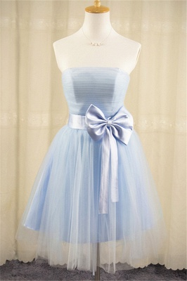 Strapless Tulle Short Cute Blue Homecoming Dress with Bowknot Lace-up Mini  Bridesmaid Dresses Under 100_1