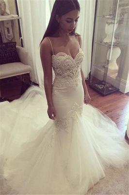 Pretty Spaghetti Straps Sweetheart Wedding Dress  Summer Sheath Tulle Bridal Gown_3