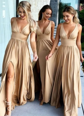 Sexy V-Neck Sleeveless Bridesmaid Dresses  | Simple Side Slit  Bridesmaid Dress_2