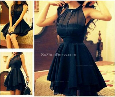Black  Cocktail Dresses High Neck Short See Through Summer  Simple Homecoming Gowns_2