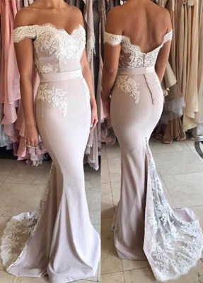 Off The Shoulder Lace Mermaid Formal Evening Dress   Open Back Ball Dresses BA7854_1