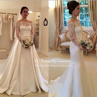 Latest Bateau Long Sleeve Satin Bridal Gowns Formal Lace Bowknot Beadings Long Wedding Dress_3