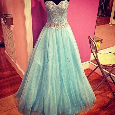 Sparkly Baby Blue Prom Dress  Sweetheart Evening Gowns with Crystals Belt_3