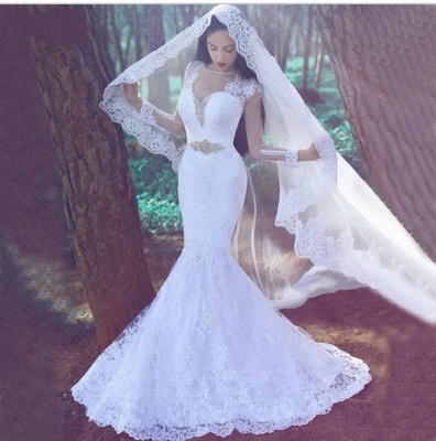 Alluring Tulle Lace Appliques Wedding Dresses White Mermaid Bridal Gowns Online_3