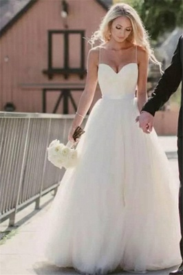 Cute Spaghetti Straps Sweetheart Princess Wedding Dresses Tulle Ball Gown Floor Length Bridal Gowns_3
