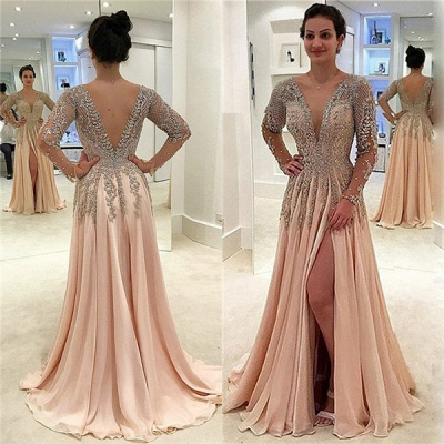 Glamorous V-Neck Long Sleeves Prom Dresses  | A-line Crystal Side Slit Evening Gowns_3