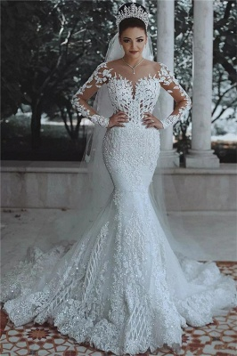 Luxury Beaded Lace Mermaid Wedding Dresses with Sleeves | Sheer Tulle Appliques Cheap Bride Dresses_1