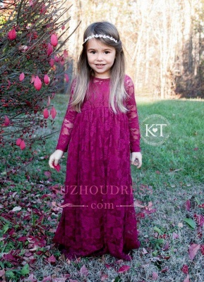 Lace Flower Sleeves Cute Fuchsia Girls Pageant Dresses_3