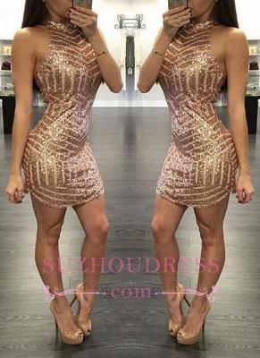 Tight Sequins Sheath Halter  Mini Homecoming Dresses_2