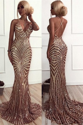 Sexy Champagne Stripes Formal Evening Dress | V-neck Open Back Ball Dress with Long Train BA8496_4