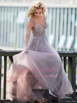 A-line V-Neck Prom Dresses  | Tulle Crystal Sleeveless Evening Gowns_4
