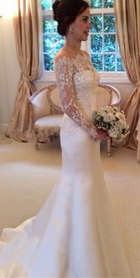 Latest Bateau Long Sleeve Satin Bridal Gowns Formal Lace Bowknot Beadings Long Wedding Dress_2