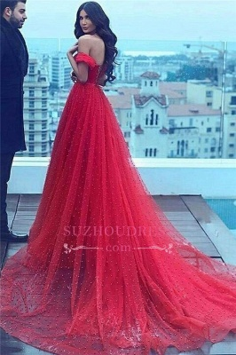 Court-Train Amazing Beading A-line Red Off-the-shoulder Sweetheart Evening Dress_3